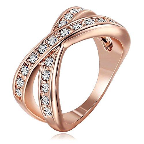 Daesar Schmuck Damen Ringe 11mm Ringbreite Vergoldet X Ring Zirkonia Rose Gold Ringe Größe 52 (16.6)