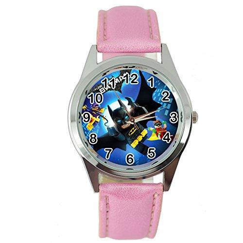Taport® Batman Lego Cuarzo Redondo Reloj Rosa Piel Banda + Libre batería de Repuesto + Libre Bolsa...