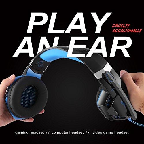 Gaming Kopfhörer für PS 4 PC Computer Professioneller 3,5mm Gaming Headset Stereo Sound Mikrofon mit Rauschunterdrückung und Lautstärkeregler Egonomisches Design, geringes Gewicht (Blau) - 8