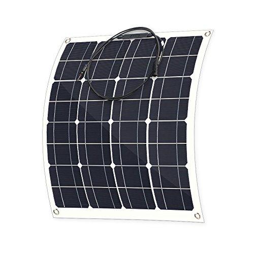 ALLPOWERS 50W 18V 12V Cargador Panel Solar Monocristalino Ligero Flexible con Conectador MC4 para Coche, Carpa, Cabina, Barco, RV (Compatibilidad con 18V y Debajo de los Dispositivos)