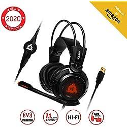KLIMTM Puma - Micro Casque Gamer - Son 7.1 - Audio Très Haute Qualité - Vibrations Intégrées - Confortable - Parfait pour Gaming PC et PS4 - Nouvelle Version 2019 - Noir