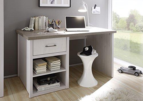 AVANTI TRENDSTORE - LUCA - Schreibtisch in Pinie weiss/Trüffel Dekor, ca. BHT: 141x77x81cm