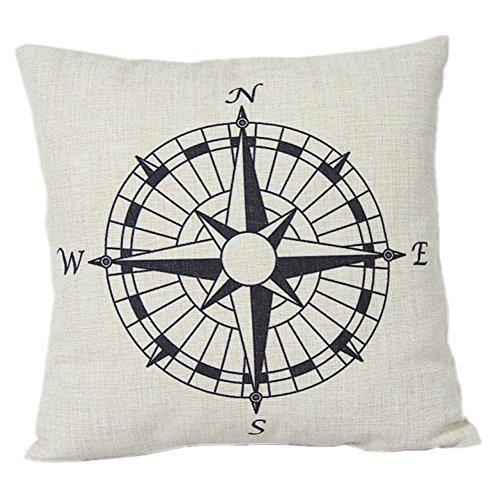 nalmatoionme especial lino y algodón brújula náutica funda de almohada Funda de cojín oficina en casa decoración