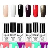 Rosalind Pure Farbe Gel Nagellack-Set, Anfänger Nagel Salon Basic Kit, bunte Gel-Lack, lang anhaltender Gel-Lack, 6 Flasche (Kit 1)