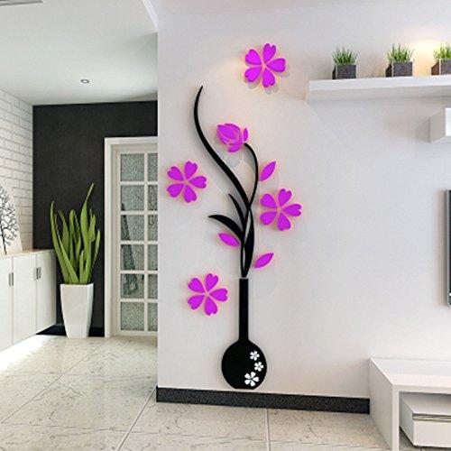 SwirlColor vaso adesivo acrilico 3D di adesivi murali invernali-dolce per la camera da letto soggiorno ingresso TV muro sfondo del manifesto casa accessorie