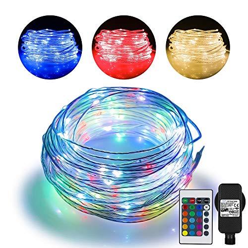 hter Outdoor Lichterkette-String Light mit 200 LEDs, 16 Farben 4 Modi Wasserdicht Lichterketten Stecker für Garten Schlafzimmer, Weihnachtsbaum, Terrasse, Zelten,Porch Dekoration ()