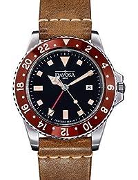 Davosa Quartz Swiss Vintage Diver Burgundy Black Leather Strap Watch 16250055