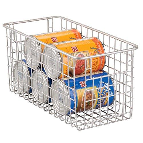 mDesignAllzweckkorb - kompakter Drahtkorb (BHT: 30,5 x 15,0 x 15,0 cm) mit Griffen - flexible Gitterbox schafftOrdnung im Haushalt - mattsilberfarben (Kleiner Korb Griff)