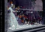 Amlaiworld Natale decorazione vetrina,Fiocchi di neve città vetrofanie 60 * 90cm