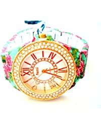 Sami RSM-77941-4 Reloj de Pulsera de Mujer Corona Cristal Correa Verde Flowers Print