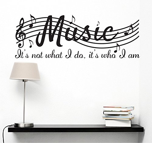 Mafent it' s not what i do it' s who i am music home vinyl wall decals quotes sayings words arts decors lettering vinyl wall stickers, 96,5 cm l x 38,1 cm h, nero