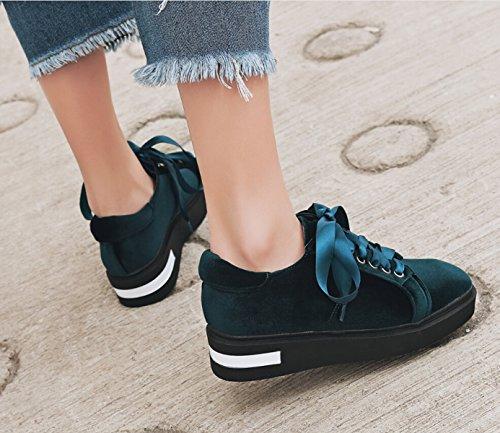 Chaussures De Ruban D'or Rétro En Suède Croûte épaisse green