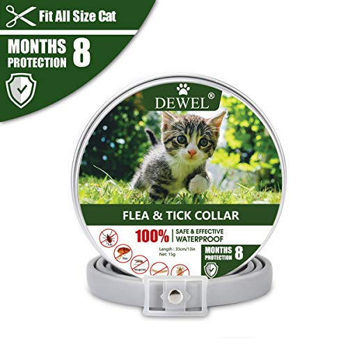 DEWEL 34,5 cm Zecken Halsband für Katze, Floh Zecken Kragen Floh-und Zecken Prävention Halsbänder, Verstellbar Wasserdicht Katze Flohhalsband, 8 Monate Schutz