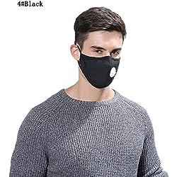 Tcare - Máscara anticontaminación antipolvo reutilizable lavable de algodón unisex para alergias, asma, viajes, ciclismo, correr, viajes, motocicleta y deporte, negro