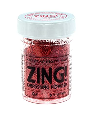 American Crafts 1-Piece 1 oz Zing Glitter Embossing Powder, Red