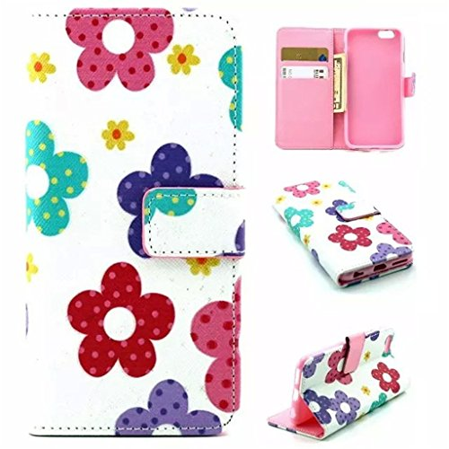 Gift_Source iPhone 6 hülle, iPhone 6S hülle, Brieftasche Ledertasche Bookstyle Schutzhülle Leder Flip case Etui for Apple iPhone 6S/6 4.7 inch [ Regenbogen ] E01-01-Sun Flowers