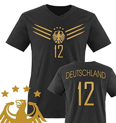 Comedy Shirts - WM 2014 - Deutschland - Deluxe F1-VH-12 - Herren V-Neck T-Shirt - Schwarz/Gold Gr. XXL