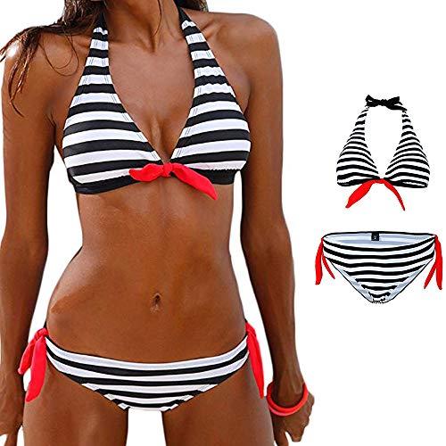 ZhengYue Damen Bikini Push up Gepolstert Streifen Tupfen Triangel Brasilianische Bademode Bikini-Sets Black XL -