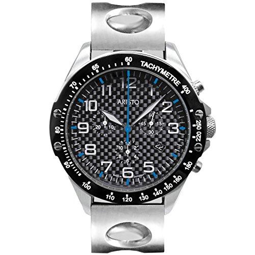 Aristo Hombre Reloj de pulsera de carbono Trophy cuarzo cronógrafo acero inoxidable Carbon Fecha