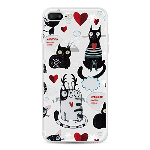 Cover iPhone 8 Plus Cover iPhone 7 Plus, JAMMYLIZARD [Sketch] Custodia in Silicone Trasparente Semi Morbido Ultra Slim con Disegno per Apple iPhone 8 Plus e Apple iPhone 7 Plus, CARTOON 7 GATTI CON CUORI