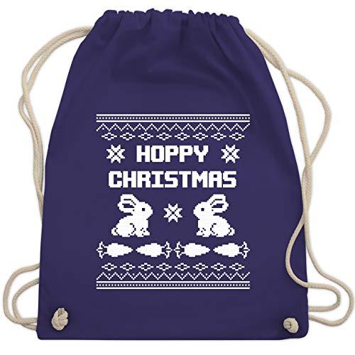 ter - Ugly Christmas I Hoppy Christmas Hase - Unisize - Lila - WM110 - Turnbeutel & Gym Bag ()