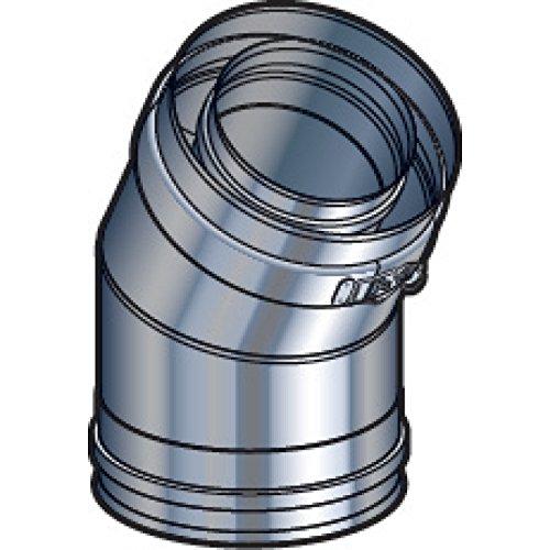 Coude 30° avec collier de jonction PGI , diamètre 80/130 mm Réf. EC 30°80/130PGI / 37080711