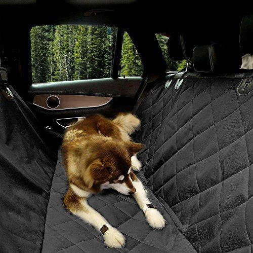 EUPETS Extra Großen Luxus-Hund Auto Sitzbezug mit Anker für Auto, LKW und SUV, Dick Langlebig, Rutschfeste Unterseite und Hängematte Cabrio, Pet Sitzbezug, Schwarz, Extra Large 61