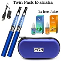 Electronic Cigarette Vaporizer Pen Twin Pack Starter Kit (blue)