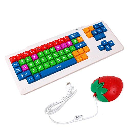 DURAGADGET Pädagogische Bunte USB Kinder-Lerntastatur mit Farbkodierung, ENGLISCHES QWERTY-Layout ideal für Kinder Sonderpädagogik Förderbedarf Behinderung + Erdbeer Maus