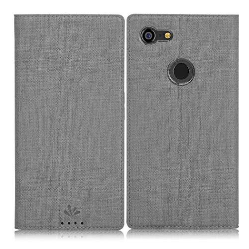 Eastcoo Google Pixel 3 XL Hülle, Flip Folio Wallet Leder Smart Case Tasche Schutzhülle Handyhülle mit [Kartenfach][Standfunktion][Magnetic Closure] für Google Pixel 3 XL Smartphone (Gray)