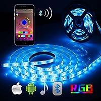 Bluetooth LED Streifen, ALED LIGHT 5050 Wasserdichtes 16.4Ft 5M 150 LED Stripes Licht Smart-Telefon Kontrolliertes RGB Lichtschläuche LED Lichtband 12V 3A für Haus, Garten, Dekoration