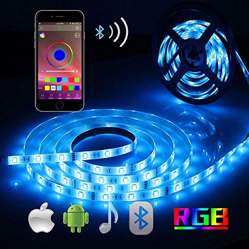 Bluetooth Tira LED, ALED LIGHT 5050 16.4 ft / 5 meter 150 Luz LED Teléfono inteligente controlado a prueba de agua RGB Tira de luz de tira para la decoración del hogar y al aire libre