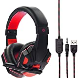 Gaming Headset, Gaming Kopfhörer Surround Stereo Stirnband Kopfhörer 3,5 mm mit Mikrofon Ohne Licht für PS6 / Xbox/One PC/Switch / Laptop/Tablets /Handy