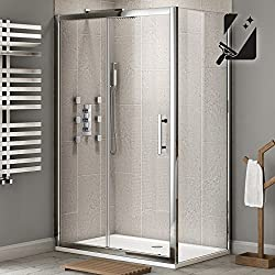 iBathUK 1200 x 800 Premium Sliding 8mm Thick Easy Clean Glass Shower Enclosure Cubicle