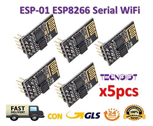 TECNOIOT 5pcs ESP8266 ESP-01 WiFi Serial Wireless Transceiver Module   5pcs  DIY Arduino ESP8266 Serie Módulo de Transceptor de WiFi Inalámbrico