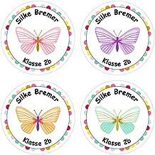 24 individuelle Aufkleber Namenssticker Schule - Motiv Schmetterling (Set 23)