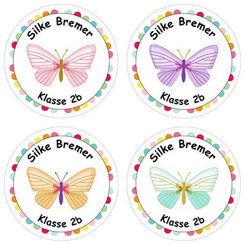 Papierdrachen 24 Individuelle Aufkleber für Kinder - Motiv Schmetterling - Personalisierte Sticker - Schule Einschulung