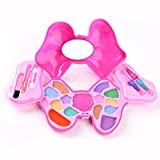 Deerdear Makeup Kit Fashion Cosmetics Set for Kids - Girls Vanity Beauty Set Include Eye Shadow Lipstick Lip Gloss with Bow-knot Case Washable