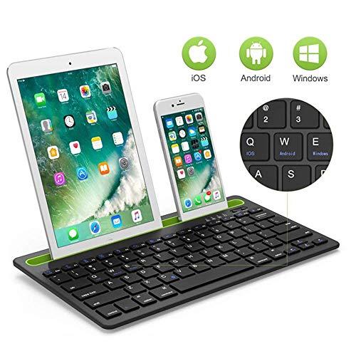 Mengen88 Tragbare Bluetooth-Tastatur, ultraflache, drahtlose Multifunktionshalterungstastatur, für Tablet/Ipad/Tablet/Smartphone usw. - Weiß, Schwarz
