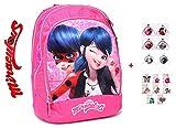 Mochila Escolar Miraculous Ladybug Redonda Rosa + Llavero + Colgante
