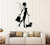 wandaufkleber glitzer Abnehmbare Vinyl Aufkleber Kunstwand Home Decor Wandaufkleber Einkaufen Frau mit Dog Girl Fashion Style