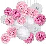 Decoración de Fiesta Pompom Flores,Abanicos de Papel Bola,Kit de Fiesta de Pompones,Papel para Colgar Bola Decoración,pompones de papel,Flores Decoracion Cumpleaños (15set)