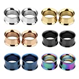 JSDDE Piercing,12er Set 6-Farben Edelstahl Schraub Tunnel Plugs Double Flared Flesh Tunnelset 3mm-25mm Ohrpiercing(14mm)