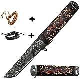 Couteau pliant japonais tanto dragon gravé Ouverture assistée +2 bracelet cuir samourai