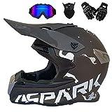 Adult Off Road Helmet Motocross Dirt Bike Motorcycle ATV Helm AM Mountainbike Crossbike Enduro Sport DOT Helm mit Handschuh Storm Maske und Gläser (6 im Stil),B,S