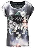 Key Largo Damen T-Shirt WT Always Look Forward Vintage Blumen Flowers Schwarz XS