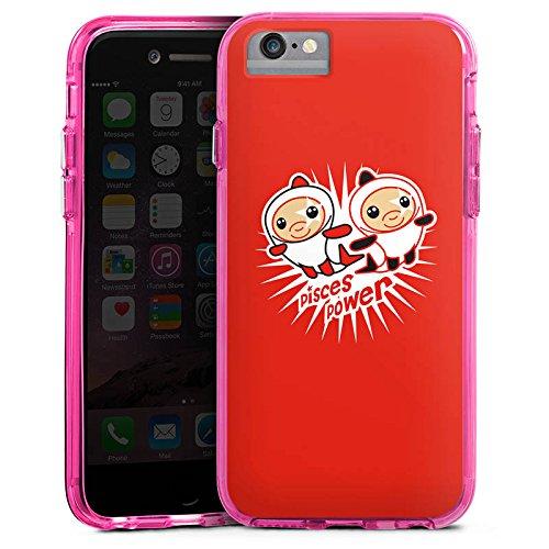 Apple iPhone 6 Bumper Hülle Bumper Case Glitzer Hülle Fische Sterne Stars Bumper Case transparent pink