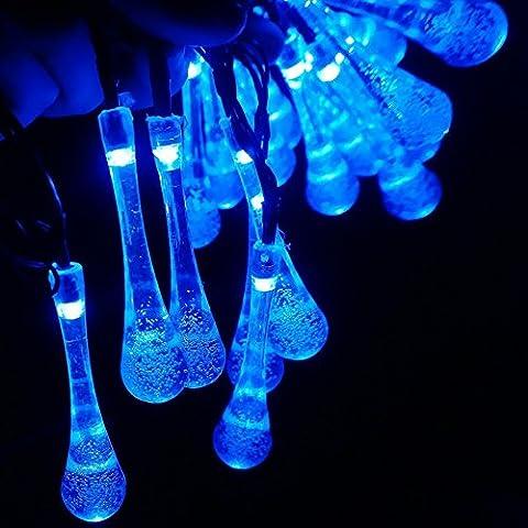 Rubility®6m 20 LED alimentata solare LED luci di Natale, Capodanno all'aperto luci della stringa di goccia dell'acqua Fata luci di striscia per la decorazione di festival (blu)