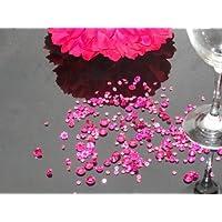 Assortiment de 3000 confettis diamants pour décoraton de table - Couleur : Rose intense - Différentes tailles