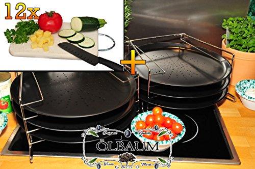 XXL Picknick-Set / Holzbretter 6 Stk. rundes Pizzablech mit gelochtem Boden + 2x 4 stufiger Edelstahl-Pizzablechhalter, TRADITIONELL, ca. 33 cm x 1 mm & 12 mal hochwertiges ca. 16 mm starkes Picknick-Grill-Holzbrett mit Edelstahlhenkel natur, mit abgerundeten Kanten, Maße viereckig ca. 27 cm x 15 cm als Bruschetta-Servierbrett, Brotzeitbretter, Steakteller schinkenbrett rustikal